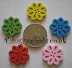 10 WOODEN FLOWER/FLORAL SEW THROUGH CRAFT BUTTONS/EMBELLISHMENTS-COLOUR OPTIONS