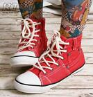 Stonewash Red Denim Jeans Belt Loop Ankle Hi Top Punk emo Sneaker Unisex Boot
