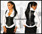 Corsetto stringivita bustino nero raso push-up  donna gothic T22 burlesque nuovo