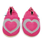 NEW SOFT LEATHER BABY SHOES 0-6,6-12,12-18,18-24mths SILVER AND PINK HEARTS
