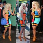 USA NEW 2014 SEXY CELEBRITY STYLE COLOR BLOCK PINK YELLOW BLUE PINK DRESS S M L