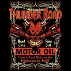 HOT ROD RACING T SHIRT THUNDER ROAD MOTOR OIL BIKER RIDER SKULL T SHIRT SPEED