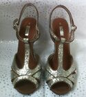NEXT SILVER GLITTER T-BAR PEEP TOE WEDDING BRIDAL BRIDESMAID SANDALS SHOES BNIB
