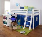 Cabin Bed Mid Sleeper Wooden Pine with Desk and Mattress