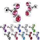 Triple Cubic Zirconia - Bubble Gem Set - Tragus / Cartilage Piercing Stud