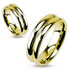 IP Gold Stainless Steel Double Dome Mirror Polished Band Ring Wedding Band