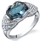 Classy 3.00 cts London Blue Topaz Cocktail Ring Sterling Silver Size 5 to 9