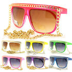 WOMEN'S CELEBRITY Sunglasses FLAT TOP SQUARED Frame w/ FAT CHAINS Fun Colors