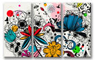 CANVAS ART - Decorative Abstract Floral 3 Panel
