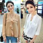 New Korean Womens Stand Collar See-through Chiffon Blouse Shirt Top 2Colors 2108