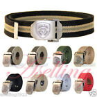 """NY Police Stainless Steel Buckle Military Army Mens Womens Web Canvas Belt 47"""" L"""