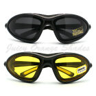 CHOPPERS GOGGLE Sunglasses FOAM PADDED Inside BIKERS WRAP Soft Matt BLACK