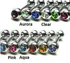Surgical Steel Tragus / Cartilage Barbell with Set Gem - Choose Colour