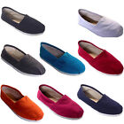 LADIES WOMENS FLAT SLIP ON CANVAS COMFORT ESPADRILLE PUMP SHOE  3-8