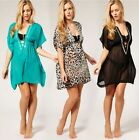 Brand New Chiffon Beach Kaftan Swimwear Bikini Cover Black Leopard S M L XL
