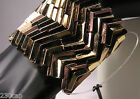 "Faux Gold & Coppery Bronzed Metal Stretch Cuff 2"" wide lots of shine"