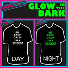 KEEP CALM I'M A STUDENT MUSIC FESTIVAL GLOW IN THE DARK PRINTED TSHIRT