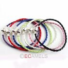 Hot sale 2x Leather Bracelet Fit European Charm Beads To Pick Color&Size