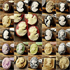 Aha TOP Oval Resin Vintage Cameo Cabochons Lady Portrait flowers Color to choose