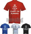 KEEP CALM AND CARRY ON RUNNING MAN T-SHIRT SPORTS MARATHON EXERCISE GYM FITNESS
