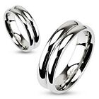 Stainless Steel Double Dome Mirror Polished 6mm Width Wedding Band Ring R258