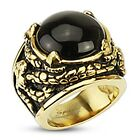 Gold IP Stnless Steel Onyx Stone Dragon Claw Venom Entangled Wide Cast Ring R257