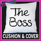THE BOSS WIFE GIRLFRIEND FUNNY GIFT SATIN FEEL CUSHION COVER & FILLING