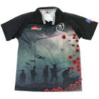 BRITISH ARMY MENS 'FOR THE FALLEN' 2012 REMEMBRANCE BLACK POPPY RUGBY SHIRT