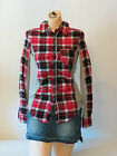 New One Step Up Red / Blue Plaid Button Front Cotton women Shirt Small - X-Large