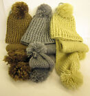 LADIES KNITTED BOBBLE HAT AND SCARF SET 90547- MINK, BEIGE AND GREY