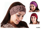 FASHION HEADBAND WITH KNITTED ROSE WINTER HEAD WARMER HAT PINK BLACK GREY BNWT