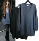 d89 CELEBRITY style Soft relaxed fit Deep V neck tunic dress