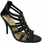 LADIES HIGH HEEL SANDALS WOMENS BLACK STRAPY PARTY EVENING SHOES SIZE 3 - 8 . ,