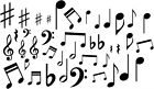 MUSIC NOTES VINYL DECAL STICKERS NOTES HOME DECOR 40 DECALS LOT