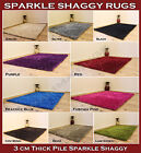 SMALL MEDIUM LARGE 3CM HIGH THICK PILE RED PURPLE PINK BLUE GREEN SPARKLE RUG