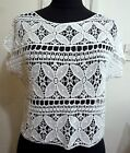 Crochet Mini Midriff Pullover / Blouse Free Size S / M White or Beige F791