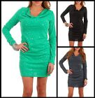 USA SEXY GLITTER SEQUIN LONG SLEEVE SWEATER DRESS SPARKLE DOTS LACE SHIRT S M L