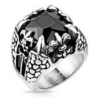 Stainless Steel Faceted Onxy Square Gem Royal Fleur De Lis Dragon Claw Ring R315