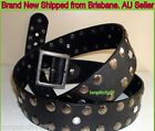 Women Girls Quality Wide Vintage Metal Button Studded Black Genuine Leather Belt