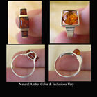 BALTIC HONEY AMBER & STERLING SILVER RING VARIOUS STYLES & SIZES