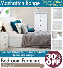 Manhattan White Furniture, wardrobe, chests, bedside tables, bookcase, desk ...