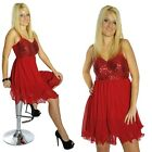 Damen Minikleid Cocktail Party Kleid Pailetten Volant rot neu 33197