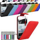 LEATHER FLIP CASE COVER, RETRACTABLE STYLUS & FILM FOR VARIOUS MOBILE PHONES