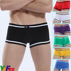 NWT Sexy Low Rise Underwear Men's Boxer Briefs Shorts Cotton Ehance Pouch Trunks
