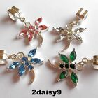 Crystal Dragonfly Dangle Bead Charm S/Silver Plated Fits European Bracelet