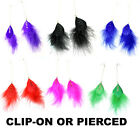6 Colours Feather Fluffy Super Long 21cm Pierced or clip-on Fashion Earrings