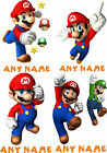 SUPER MARIO PERSONALISED A5 T SHIRT TRANSFER for White/Light cotton