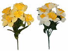38cm 8 Head Daffodils. Artificial Flowers Posy Bunch Yellow or White Yellow