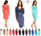 Jersey Long Sleeve V Neck Work Office Casual Cocktail Pencil Dress UK 6-28 285