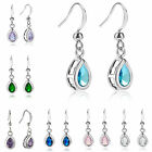 Fashion Engagement Lady 18K White Gold Plated Pear Drop Dangle Hook Earrings